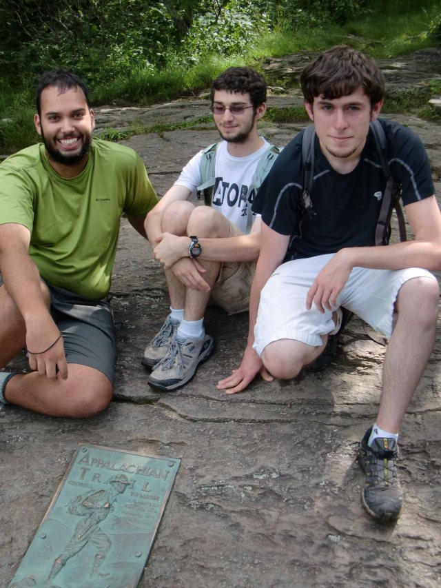 Aroon, Derrick & Daniel at AT milepost 0.0, atop Springer Mountain. June 22, 2013.