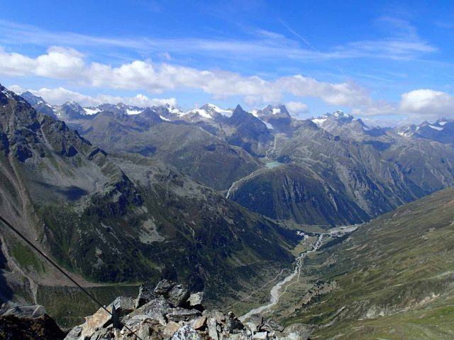 View from Karleskopf down to Pitztal. Riffelsee in background.