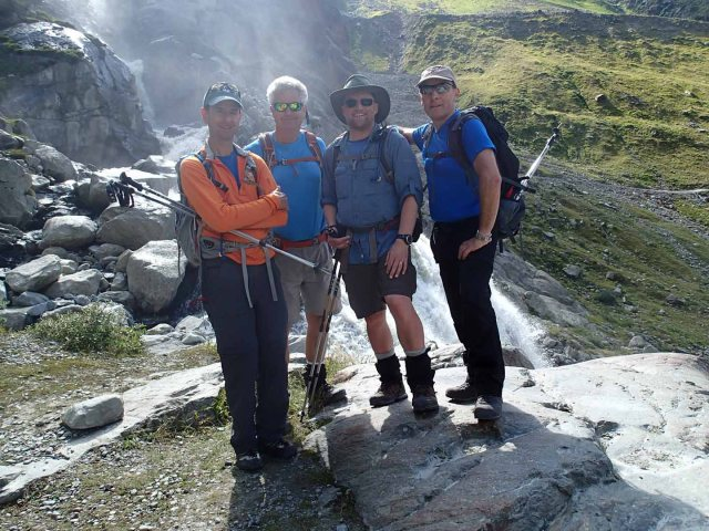 Final crew shot on waterfall trail down to Mittelberg.