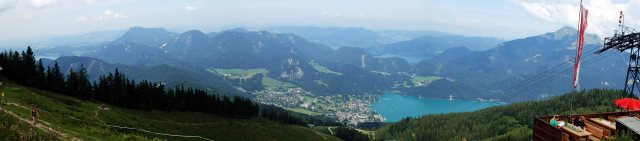 View down to St. Gilgen, Wolfgangsee and Mondsee.