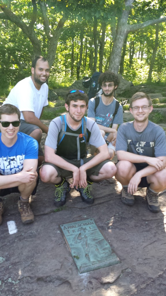 Aroon, Derrick, Blake, Daniel & Benny atop Springer Mountain, AT mile 0.0