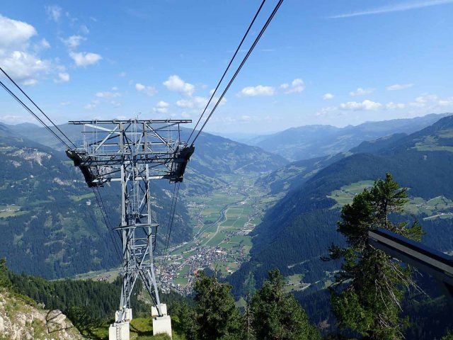 View down to Mayrhofen from Ahornbahn