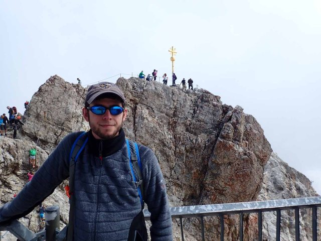 Daniel with Zugspitze summit cross in background
